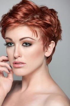 This short pixie is ideal for thick hair, add styling gel while damp blow dry and your done! Super easy Hair!