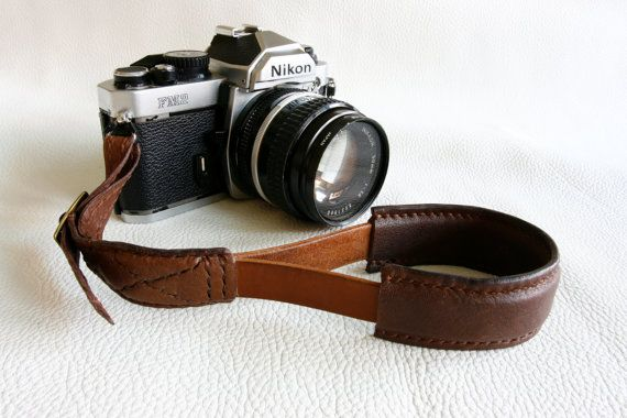10% off Handmade Brown leather camera Hand strap - made to order