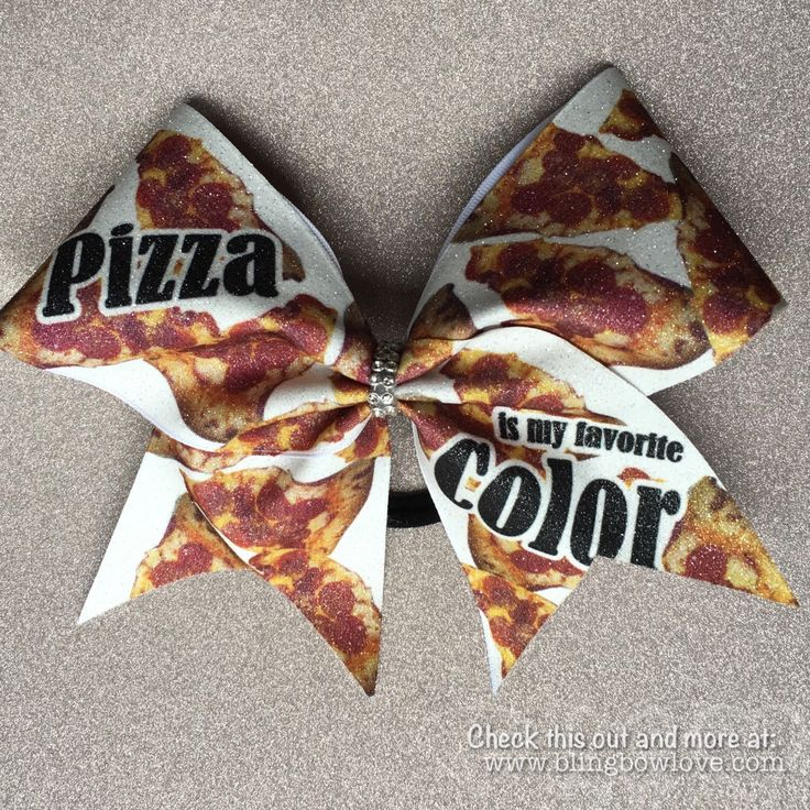 Pizza is my Favorite Color Bow // Cheer Bow // Glitter Cheer Bow // Bling Cheer Bows // Big Cheer Bows // Cheerleading Gifts by BlingBowLove on Etsy https://www.etsy.com/listing/285493733/pizza-is-my-favorite-color-bow-cheer-bow