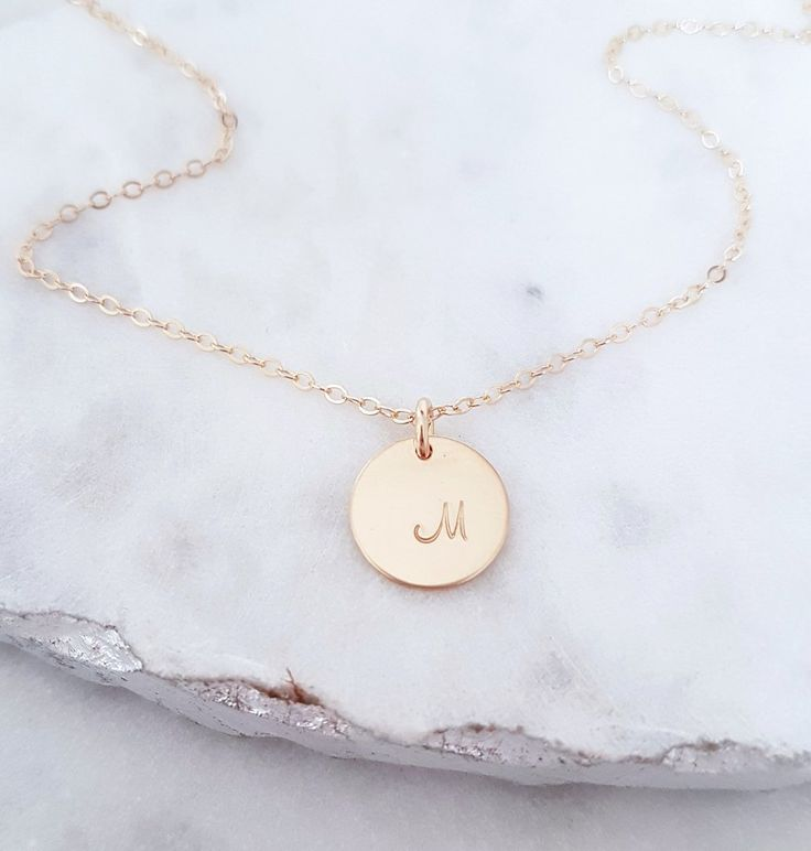 Gold Hand Stamped Disc Necklace 12mm