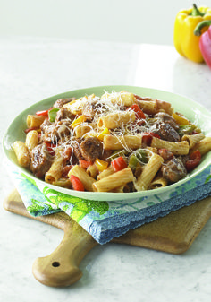 Sausage with Peppers and Pasta – Bring the flavors of a sausage and pepper sandwich from an Italian street fair to your dinner table with this weeknight pasta dish. Our easy recipe shows you how.