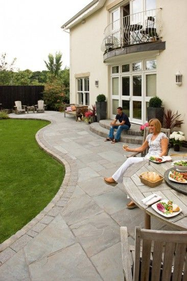 Patio with Unilock Natural Stone