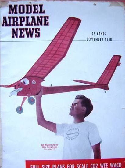 """For Throwback Thursday, our September 1948 cover features Don McGowan and his glider-towing gas model. This issue featured two plans, one for """"Fright,"""" the towplane, and one for """"Flea,"""" the glider."""