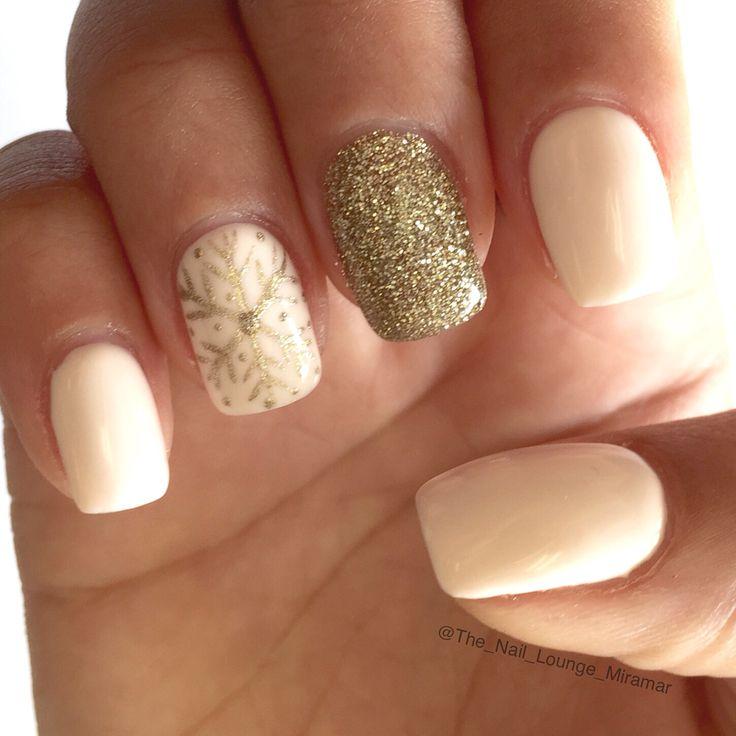 Simple nude gold snowflakes nail art design winter nails - http://amzn.to/2iZnRSz