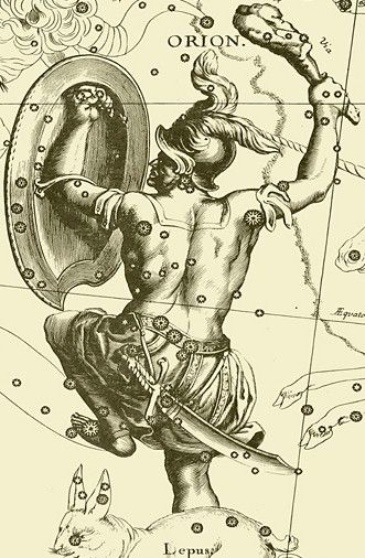 Johannes Hevelius' 1690 drawing of the constellation Orion in his celestial catalogue Uranographia