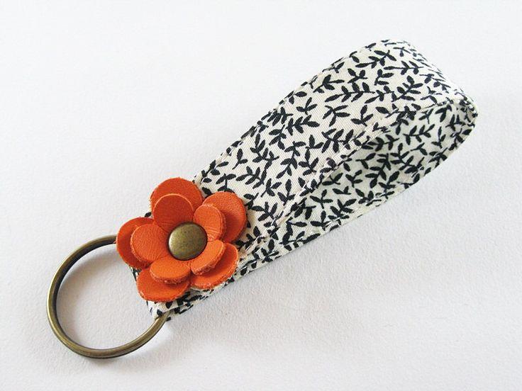 MINI Fabric Keychain, Fabric Wristlet Key Fob, Fabric Keyring, Keychain Wristlet With Double Orange Leather Flower by CuteKeyChain on Etsy https://www.etsy.com/listing/254698266/mini-fabric-keychain-fabric-wristlet-key