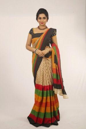 Dhakai multicolor printed saree