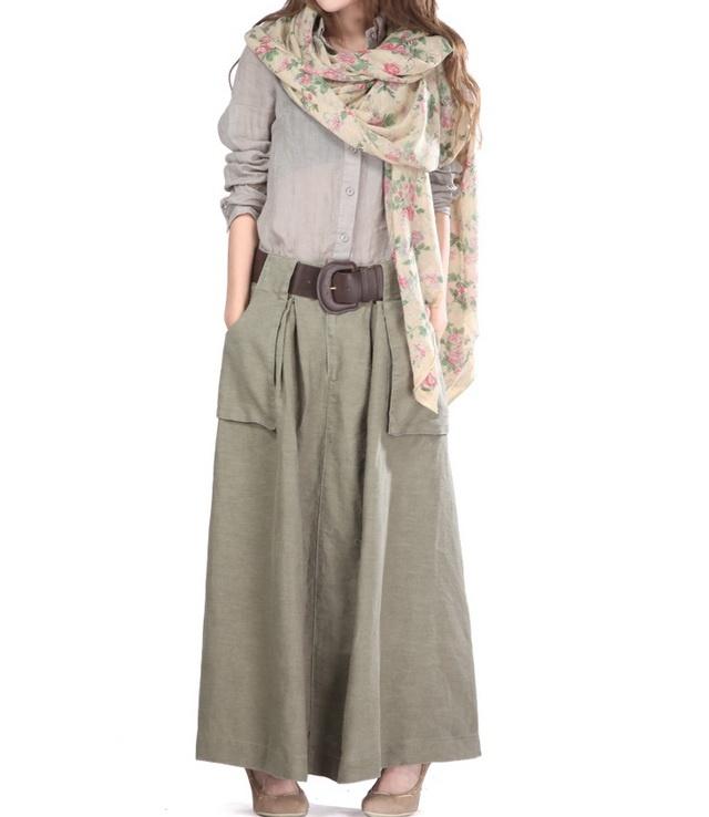 Big Pockets Linen Skirt