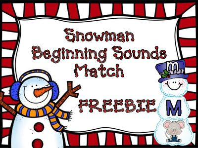 Beginning Sounds Snowman Sort FREEBIE (CCSS) from Sparkling in Kindergarten on TeachersNotebook.com -  (11 pages)  - Match capital letter (snowman head), lowercase letter (snowman middle part of body), and picture (beginning sound - bottom part of snowman) for each letter of the alphabet.