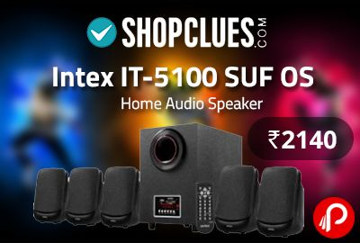 """Shopclues is offering Intex IT-5100 SUF OS Home Audio Speaker at Rs.2140. 5.1 Channel Multimedia Speaker With USB/SD/FM, Digital FM playability, AUX Audio Input Compatible With DVD/PC/LCD TV, Full Function Remote Control, LED Display, Specifications – Output Power : 20W + 10W x 5, Speaker Size/Wait : Main Unit : 10.16cm (4'') Satellite : 7.62cm (3""""), Impedance : 4 Ω, FM Frequency Receiver : 88MHz…"""