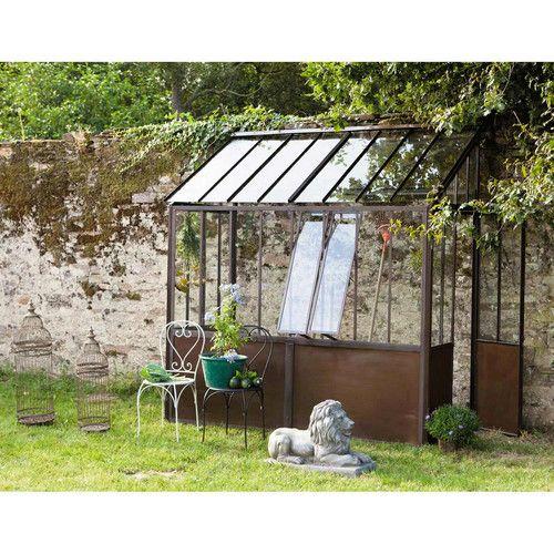 Anlehngewächshaus aus Metall mit Rosteffekt, H 245cm