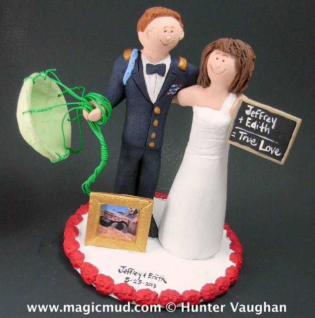 Teacher Marries Solider Wedding Cake Topper .... the groom is an ace parachutist who just dropped in for his matrimonial nuptials... civilian life may seem a little tame for a guy used to racing around in a humvee or descending from the skies...but i know that this wise educating bride can make any lesson exciting...$235#soldier#parachute#wedding #cake #toppers  #custom #personalized #Groom #bride #anniversary…
