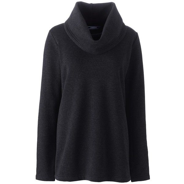 Lands' End Women's Petite Cowl Neck Fleece Pullover ($49) ❤ liked on Polyvore featuring plus size women's fashion, plus size clothing, plus size tops, black, cowl neck tops, petite sweaters, cowlneck top, sweater pullover and lands end tops