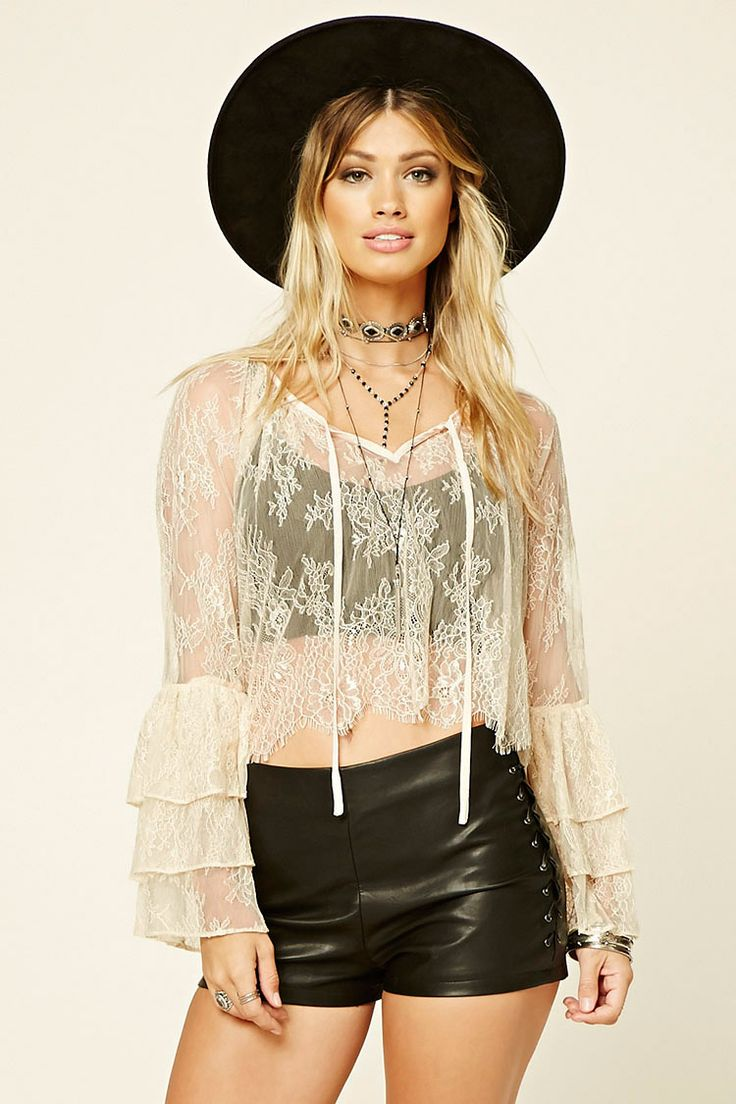 Bell-Sleeve Eyelash Lace Top | Forever 21 - 2000229122