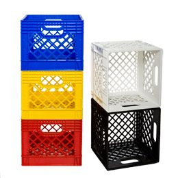 The Container Store  Authentic Dairy Crate $10 each - wish I'd saved the ones I decorated my dorm with all those years ago. Perfect for outdoor toy storage - drain well, durable,open enough to see contents. Kids don't OPEN toy bins with lids...