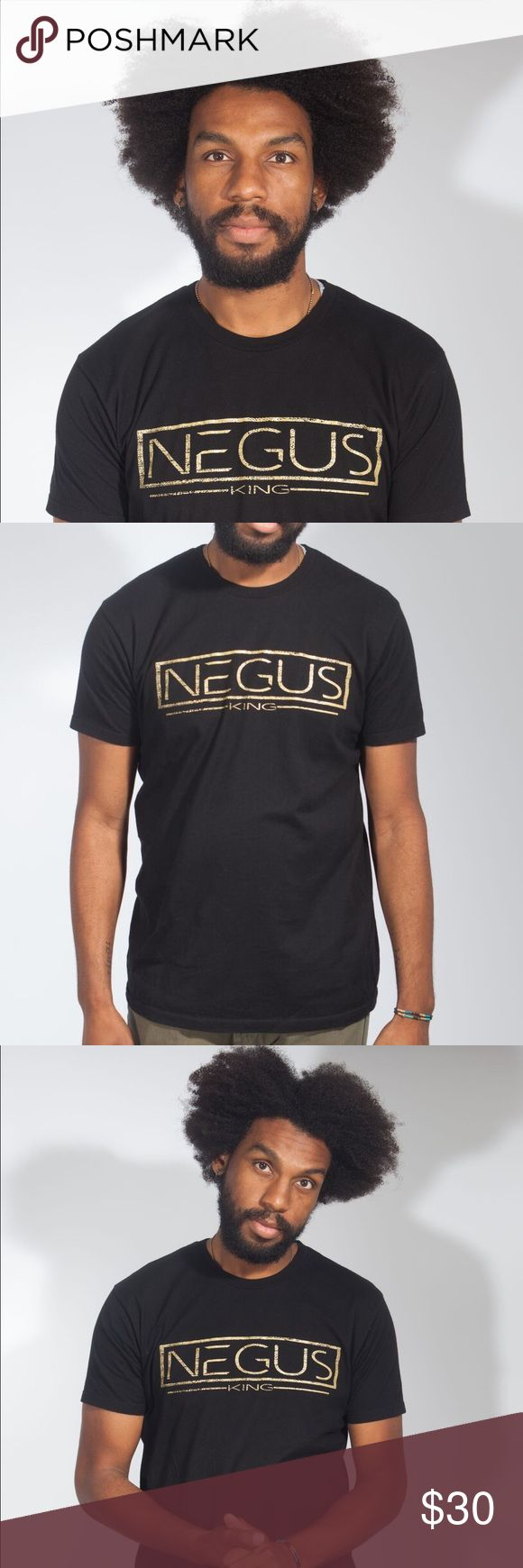 [Negus] 100% Cotton Tee  Negus means king, emperor or supreme ruler in the Ethiopian Amharic language and is a derivative of the Egyptian word N-G-R (pronounced en-ger) which means God. F.L.O.S.S. Daily Shirts Tees - Short Sleeve