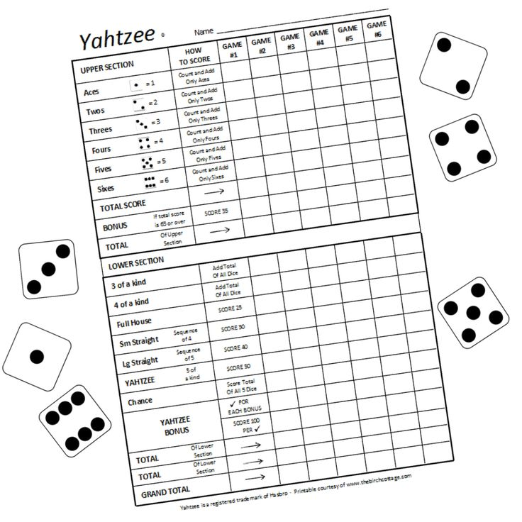 Download these free large print printable yahtzee score