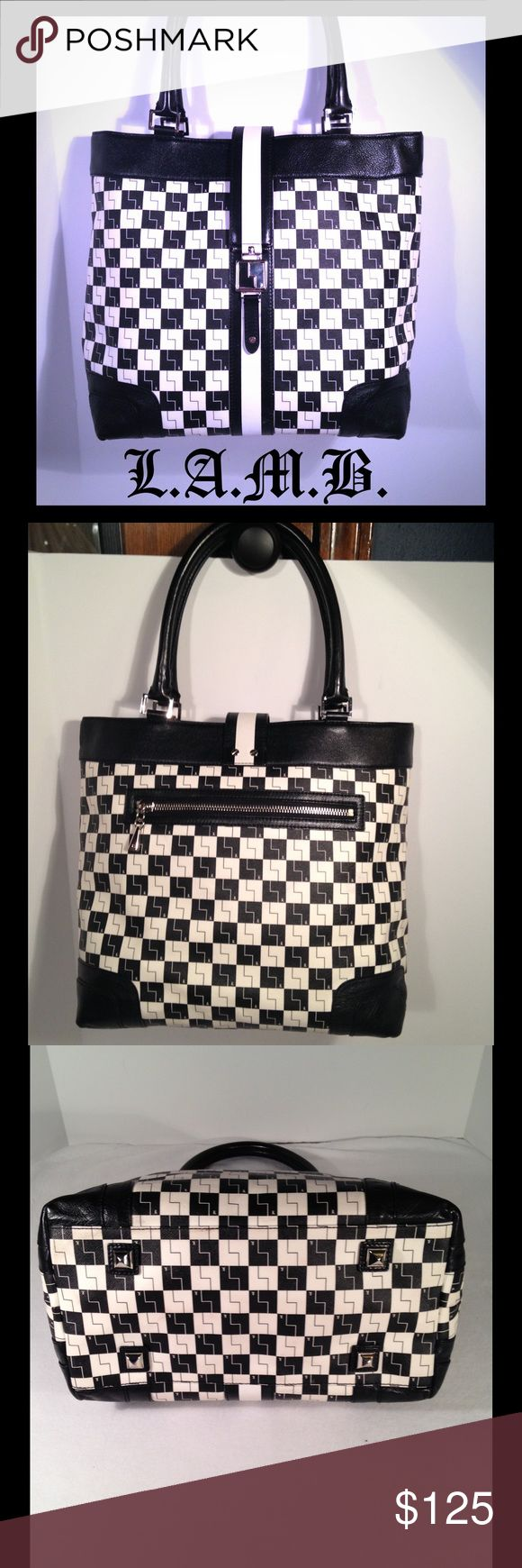 """L.A.M.B. Checkerboard Westfield Tote♥️ Beautiful tote in excellent condition with minor preowned wear pictured, some smudges on exterior, hardly noticeable and marks on stripe, but when buckle is closed you cannot see this. Genuine leather and pvc. Silver hardware. Exterior back zippered pocket. Interior zip, slip, envelope & cell pockets. Signature striped interior lining. Protective feet on bottom of bag. Strap drop 7"""". Retail price $575.00. Please carefully review all photos & ask any…"""