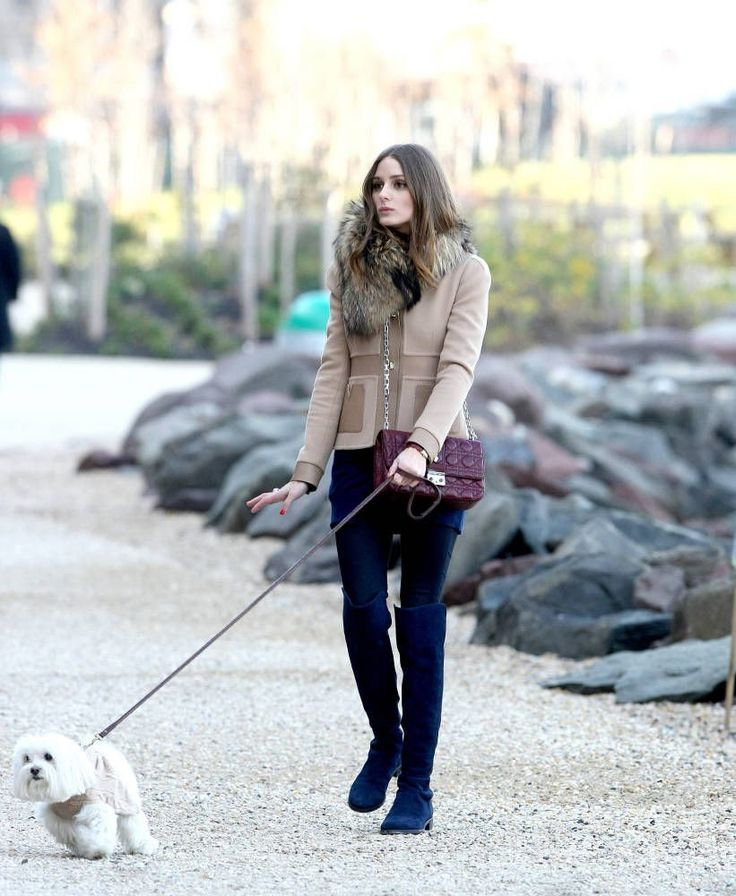 Tan Coat, Fur Scarf, Navy Tights, High Boots, Maroon Bag