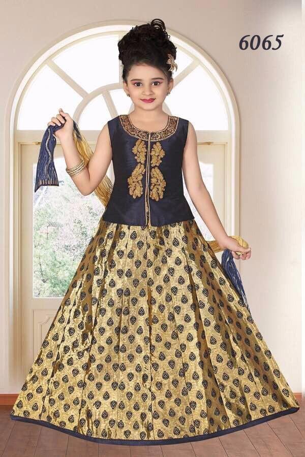 497aa56b5ee47 Product ID : GE6065Type : Lehenga CholiColour : Dark Blue Coat and Golden  Colour SkirtStitching :