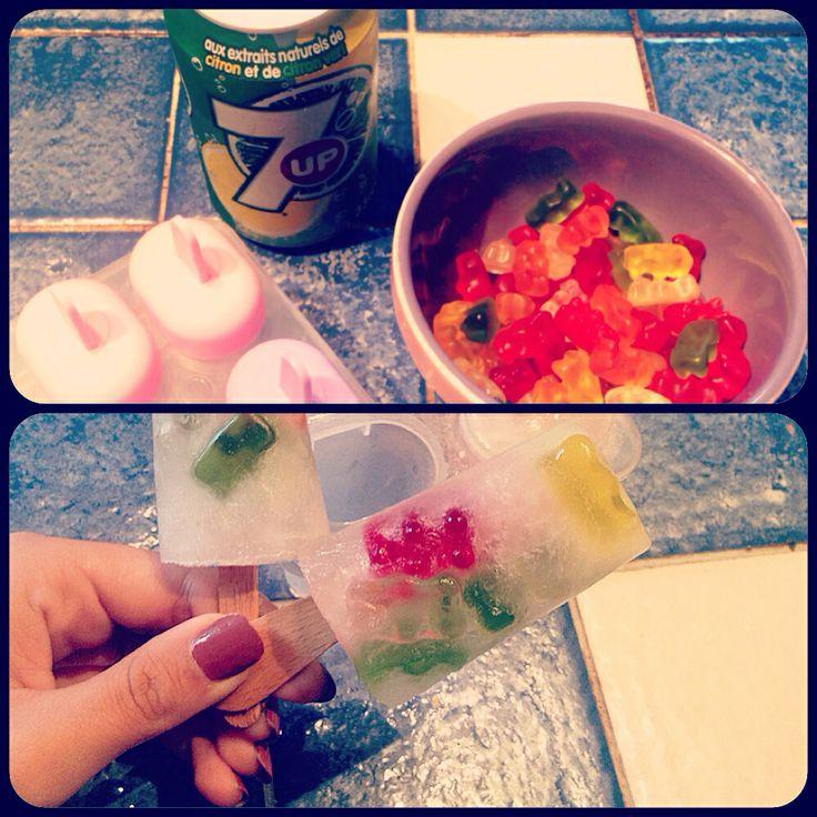 Sprite and gummy bears ice