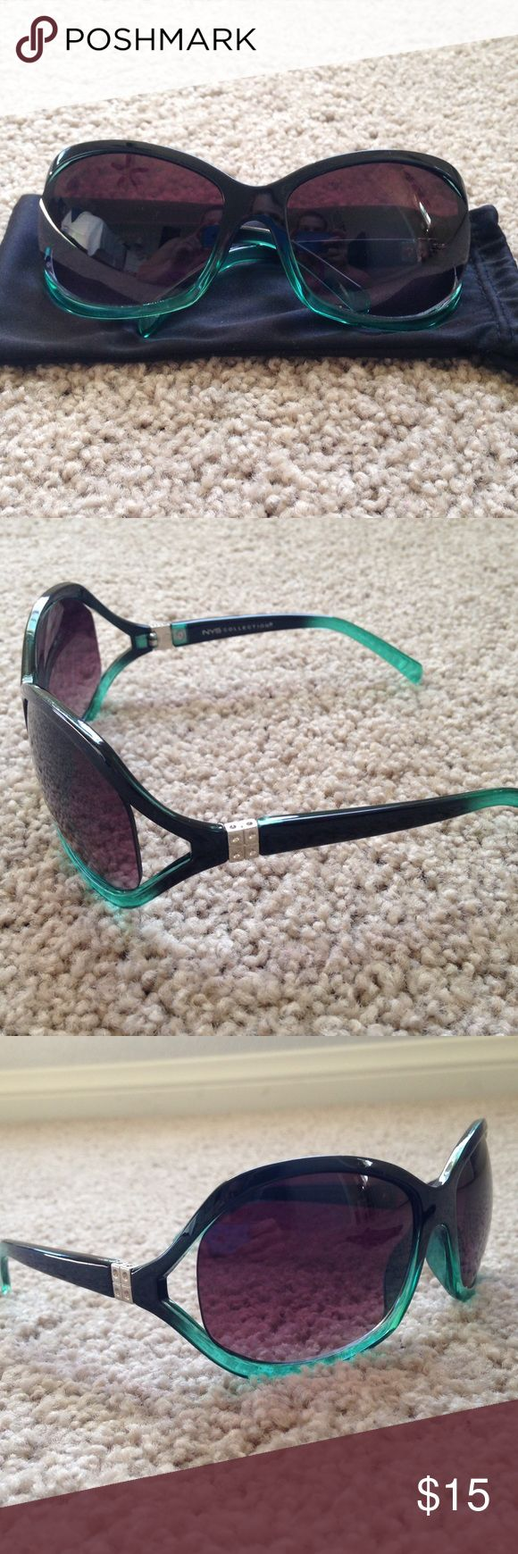 NWOT NYS Sunglasses NWOT!!! Never worn!!! NYS sunglasses. Black with real color at the bottom of rims and the back of the bow. Comes with pouch for protection!!! Accessories Sunglasses