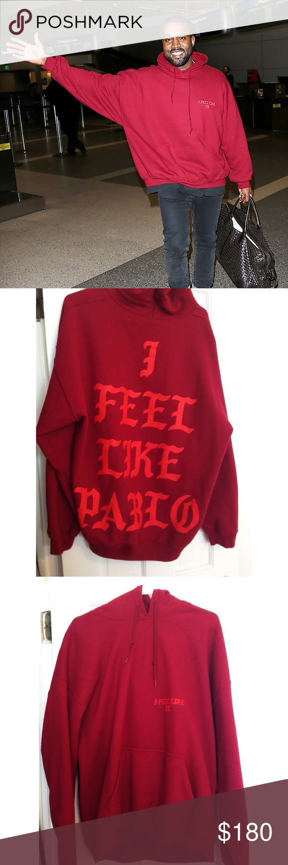 Kanye West authentic I FEEL LIKE PABLO hoodie selling my 100% authentic (I can provide proof for the buyer) I feel like Pablo hoodie in red, XL. As seen on Kanye (pictured). this is a deadstock item and is not available online or in any store. they were sold at the Yeezy season 3 fashion show at MSG and at the Kanye west pop up store in soho back in February. the condition is perfect. the front reads I feel like ye and the back says I feel like Pablo. this item was worn twice and then dry…
