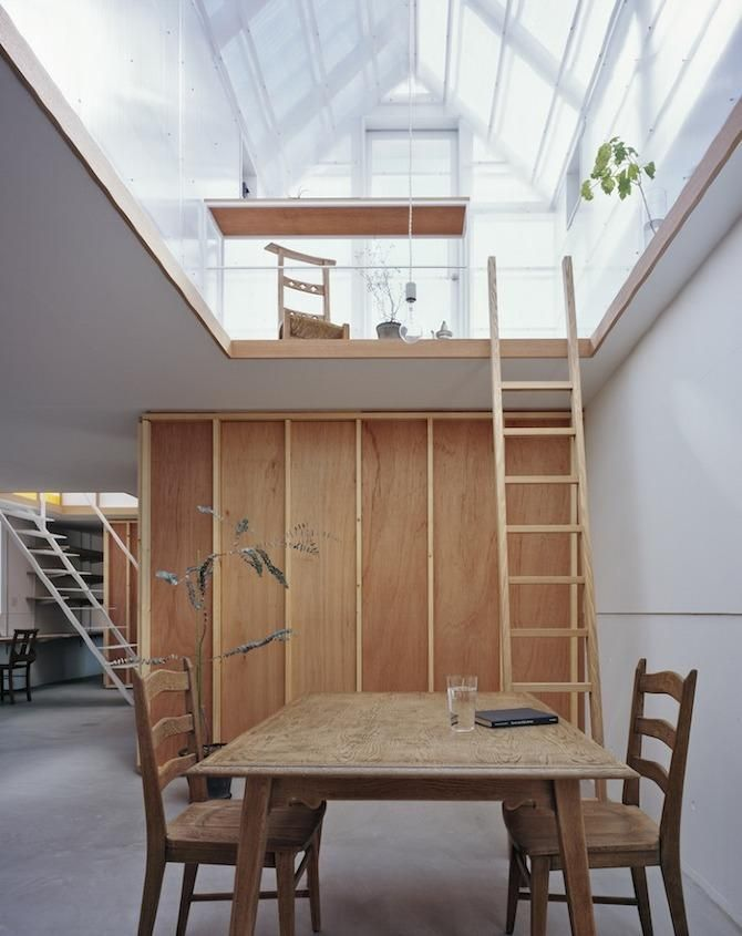 Wooden ladder in a Japanee house; Remodelista