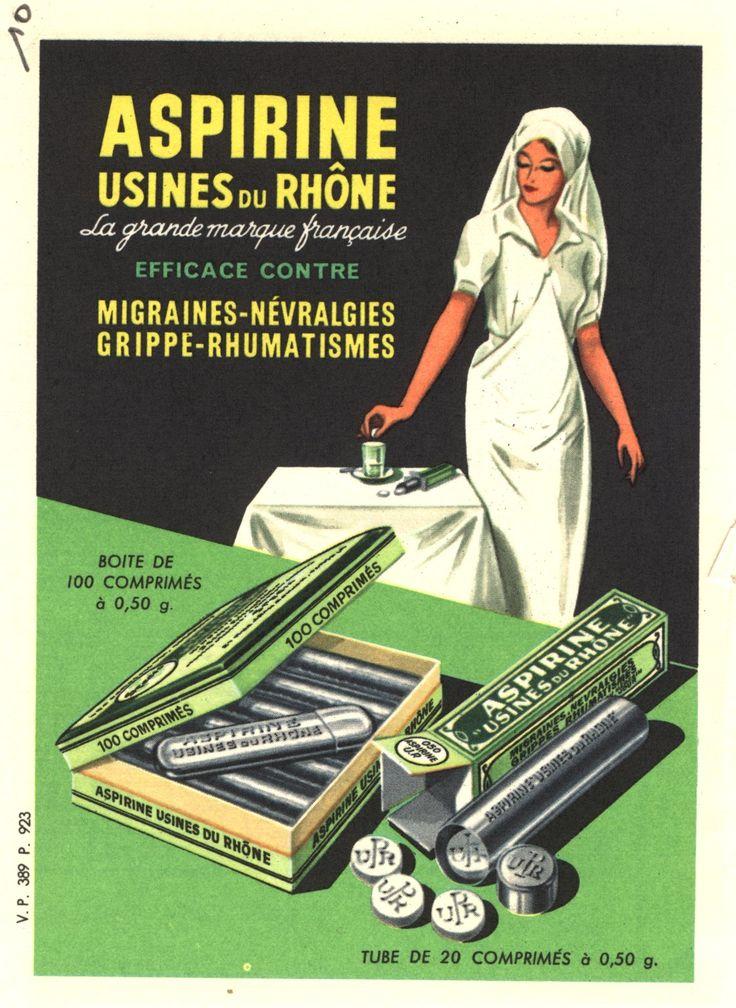 """Aspirine Usines du Rhône."" Postcard."