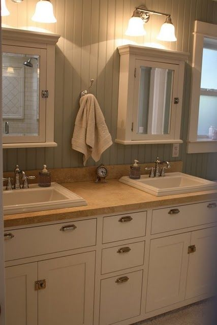 Two small Medicine cabinets– a good way to save money and practical too. I only wish It'd be easy to find medicine cabinets to go with the vanity I bought. -master bathroom-