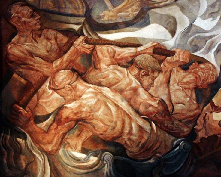 El dominio de las fuerzas naturales, detalle Lino Enea Spilimbergo, (1946) Ciclo de murales en cúpula, Galerías Pacífico, Buenos Aires.