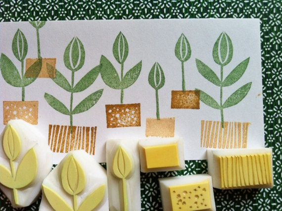 herbal garden rubber stamp. hand carved stamp. handmade rubber stamp. gardening. set of 6.. $18.00, via Etsy.