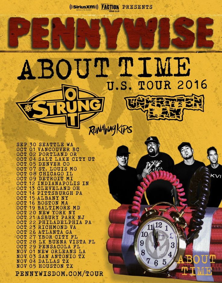 Pennywise Announces US Tour Dates #Pennywise #AboutTime #StrungOut #Unwritten_Law #RunawayKids