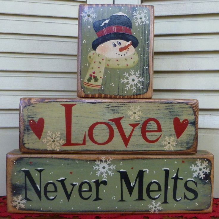 Christmas Love Never Melts Green Red Block Stackers Shelf Sitters Wood Primitive Antiqued. $18.95, via Etsy. - Picmia