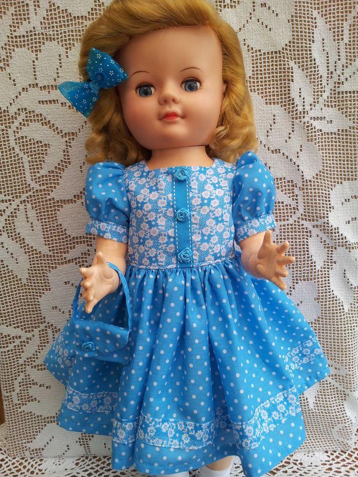 """SalStuff, Polka Dot Dress, Bag Bow for 22"""" Vintage Doll Pedigree Walker 50/60's"""