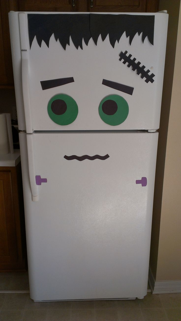 FrankenFridge! Halloween fridge decoration, Frankstein! (AKA My first original pin!) Just construction paper and tape.