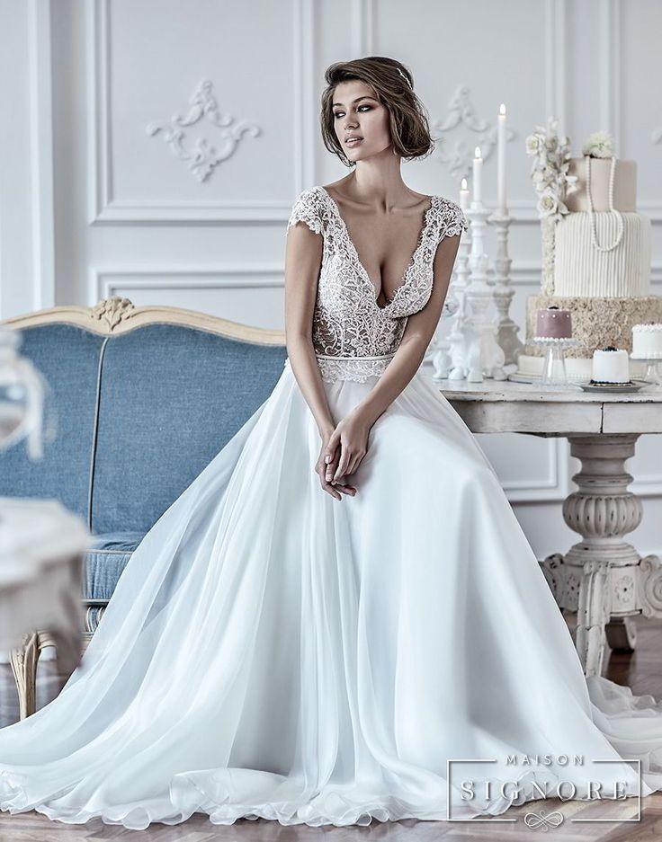 maison signore 2018 bridal cap sleeves deep v neck heavily embellished romantic sexy pastel blue soft a line wedding dress chapel train (duchessa) mv -- Maison Signore's Stunning 2018 Wedding Dresses