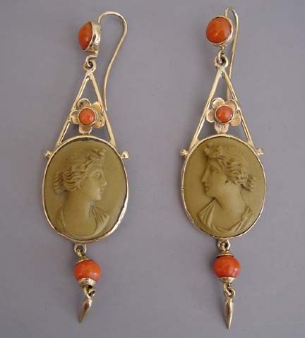 VIctorian 9ct yellow gold, Italian lava cameo and coral pierced earrings in original box, circa 1860,