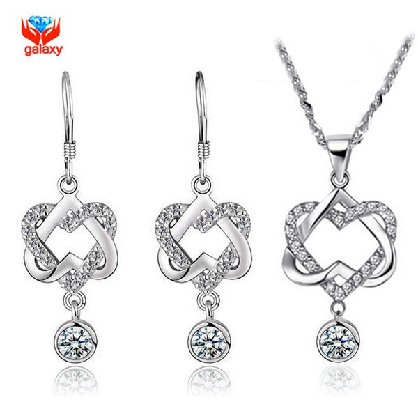 ==> [Free Shipping] Buy Best GALAXY 100% 925 Sterling Silver Jewelry Sets Romantic Double Heart CZ Pendant Necklace Earrings Women Fashion Jewelry Sets YS061 Online with LOWEST Price   32462600822