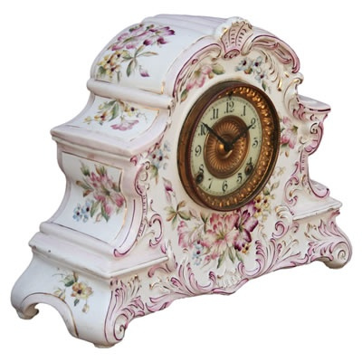 "Antique American Porcelain Mantle Clock ""Dresden"" by Ansonia Clock ..."
