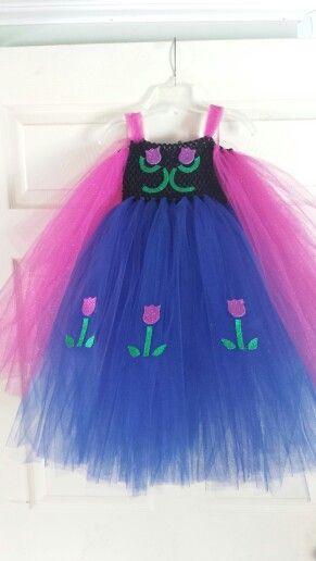 Frozen Anna tutu dress. No sew! Crochet headband top. Perfect for Halloween or Princess & Frozen party.
