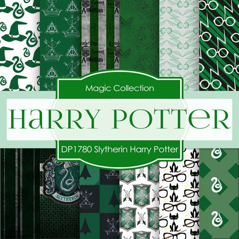 Slytherin Harry Potter Digital Paper DP1780 - Digital Paper Shop - 1