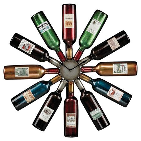 Add bright vineyard-inspired style to your kitchen or dining room with this eclectic wall clock, showcasing a silhouette of gathered wine bottles.