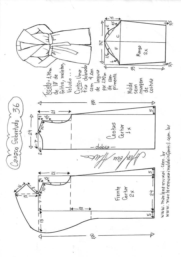 Casaco sobretudo gola inteira | DIY - molde, corte e costura ...