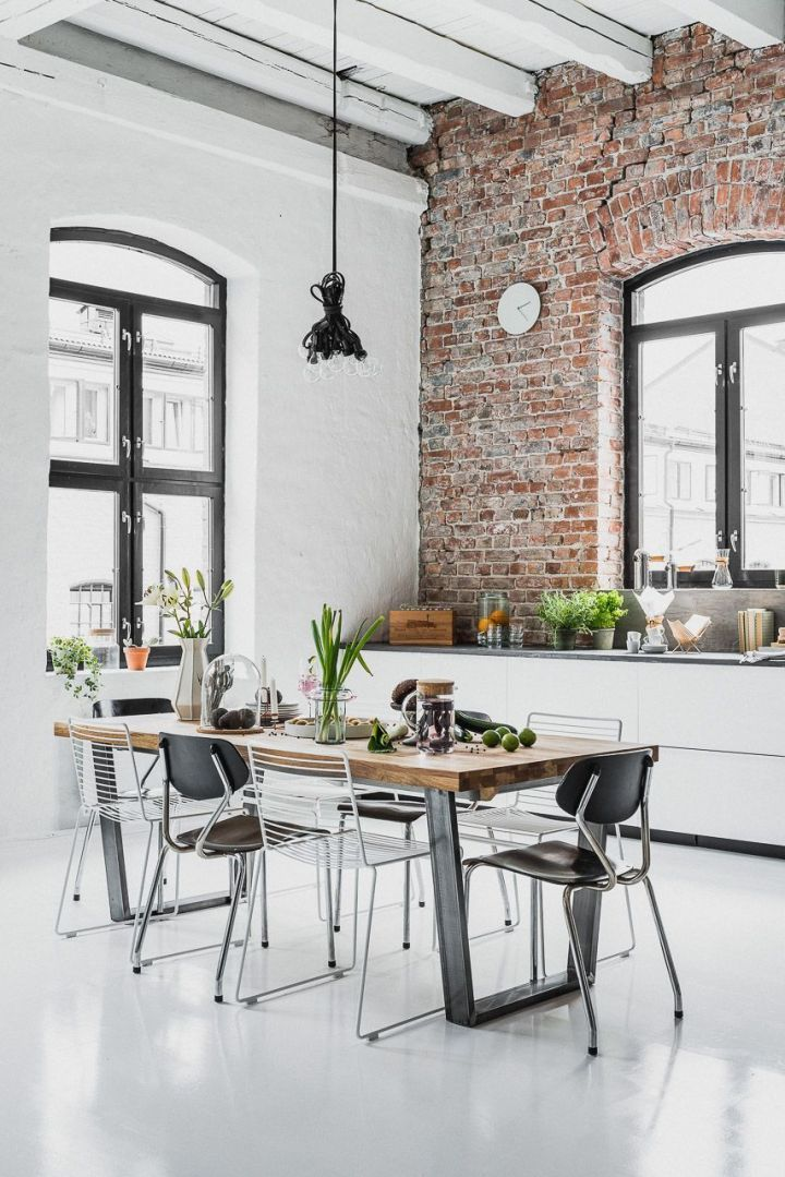 Industrial Home Decor Ideas Industrial Home With Red Brick