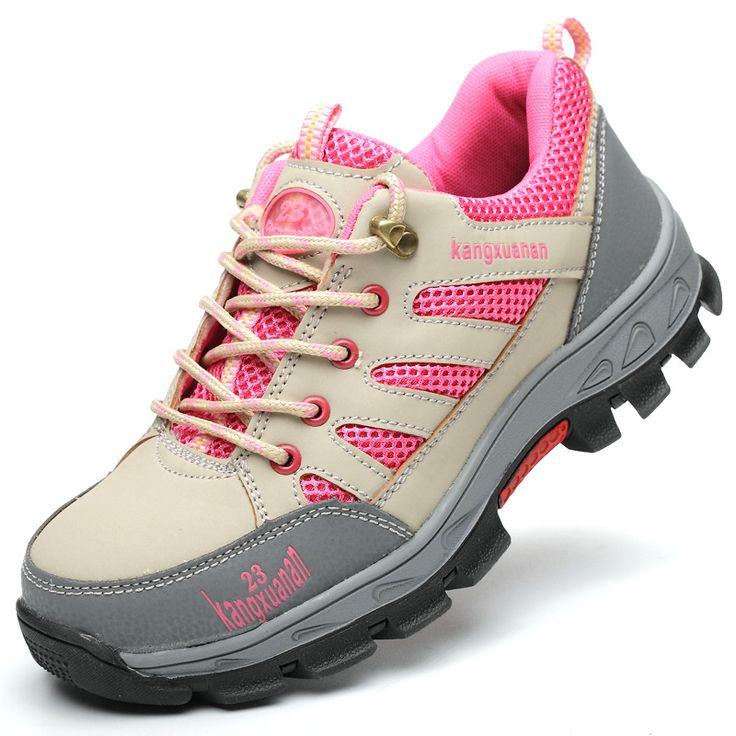 Zapatosantideslizantesdeldedodelpie de la seguridad de la mujer al aire libre Zapatos del senderismo de la construcción del trabajo