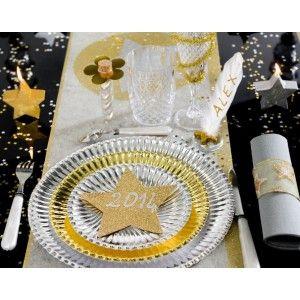 Assiette carton or pas chère, Assiette carton métallisé or ronde 23 cm les 10, art de table, vaisselle jetable, wedding, mariage, table festive, anniversaire, party, fêtes, baptême, noël
