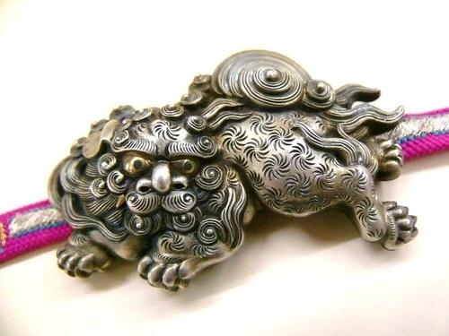 Meiji antique shishi obidome in silver