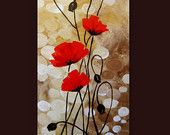 Items similar to Original Acrylic Painting - Red Poppies Flowers Fields Red Beige Brown Floral Abstract - Original Fine Art Contemporary Art - Made To Order on Etsy