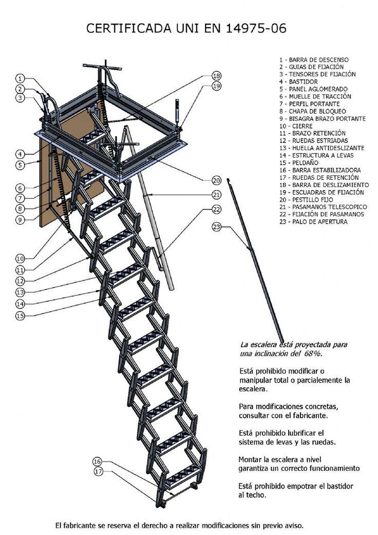 M s de 25 ideas incre bles sobre escalera tijera en - Escaleras plegables techo ...